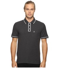 Original Penguin Earl Polo Dark Charcoal Heather Men's Short Sleeve Pullover Black