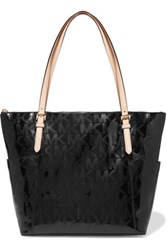 Michael Michael Kors Perforated Patent Leather Tote Black