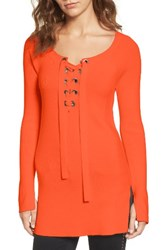 Trouve Women's Ribbed Lace Up Sweater Orange Spice