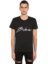 Balmain Logo Patch Cotton Jersey T Shirt Black