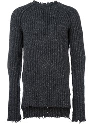 Damir Doma Ribbed Crew Neck Jumper Grey