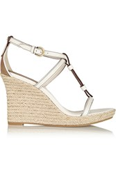 Burberry Brit Textured Leather Espadrille Wedge Sandals White