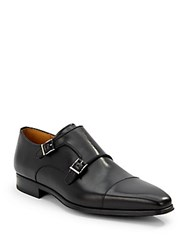 Saks Fifth Avenue By Magnanni Double Monkstrap Leather Shoes Black