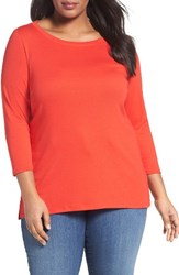 Sejour Plus Size Women's Ballet Neck Tee Red Bloom