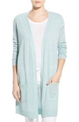 Women's Halogen Long Linen Blend Cardigan Blue Pastel
