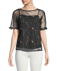 Casual Couture Embroidered Mesh Illusion Tee Black