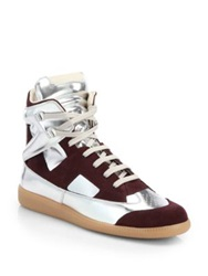 Maison Martin Margiela Metallic Leather And Suede High Top Sneakers Bordeaux Silver Light Pink