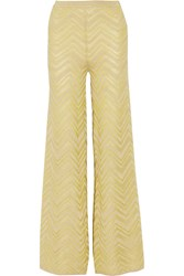 M Missoni Metallic Crochet Knit Wide Leg Pants Green
