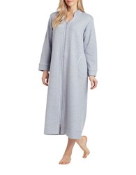 Carole Hochman Plus Diamond Shimmer Zip Robe Grey
