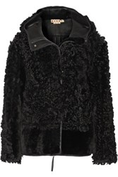Marni Hooded Shearling Jacket Black
