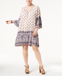 Style And Co Plus Size Border Print Off The Shoulder Dress Only At Macy's Serendipity Ivory