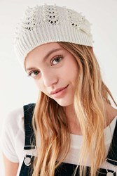 Urban Outfitters Pointelle Pearl Beanie Ivory