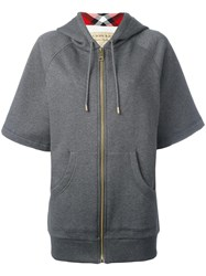 Burberry Shortsleeved Zipped Hoodie Grey
