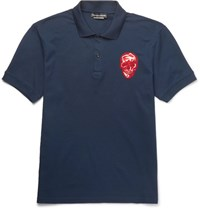 Alexander Mcqueen Slim Fit Embroidered Cotton Pique Polo Shirt Navy