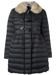 Red Valentino Fur Collar Duffle Coat Black