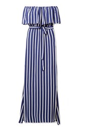 Alice Olivia Grazi Off The Shoulder Striped Voile Maxi Dress Blue Gbp