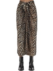 Ganni Printed Stretch Silk Wrap Midi Skirt Leopard