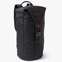 Barbour Wax Cotton Zip Front Backpack Navy