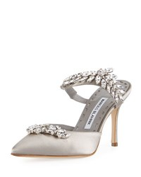 Manolo Blahnik Lurum Crystal Embellished Mule Pump Gray
