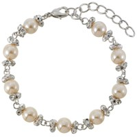 Finesse Perfect Pearl And Cubic Zirconia Link Bracelet