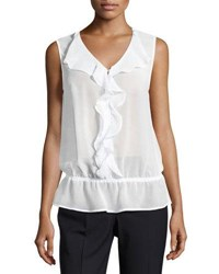 Laundry By Shelli Segal Ruffle Front Sleeveless Top Black
