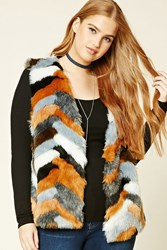 Forever 21 Plus Size Faux Fur Vest Black Ivory