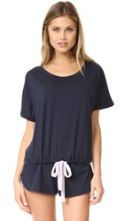 Eberjey Heather Short Sleeve Tee Infinity Blue Fragrant Lilac
