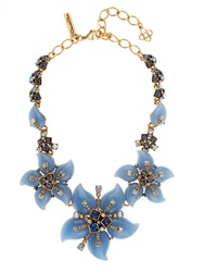 Oscar De La Renta Periwinkle Resin Flower Necklace