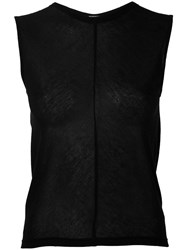 Ann Demeulemeester Open Back Tank Top Women Modal Cashmere 38 Black