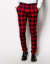 Vito Tartan Suit Trousers In Slim Fit Red