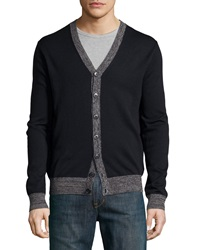 Neiman Marcus Contrast Trim V Neck Button Front Cardigan Dark Midnight