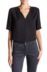 Nydj Short Sleeve Split Neck Georgette Blouse Black