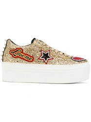 Philipp Plein Shiny Platform Sneakers Women Leather Polyester Sequin Glass 38 Nude Neutrals