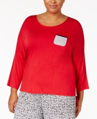 Ellen Tracy Plus Size Contrast Trimmed Pajama Top Red