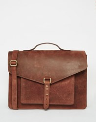 Asos Leather Satchel With Stud Fastening Brown