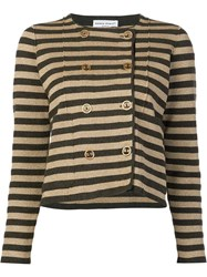 Sonia Rykiel Striped Boxy Cardigan Brown