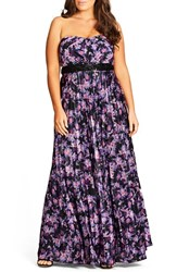 City Chic Plus Size Women's Helena Print Strapless Maxi Dress