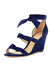 Alexandre Birman Gianna Anabela Knotted Suede Wedge Sandal Navy
