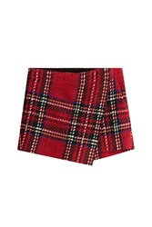 Barbara Bui Tartan Skirt With Cotton And Wool Red