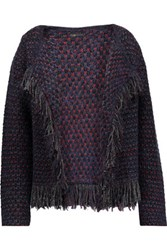 Maje Metallic Fringed Boucle Knit Cardigan Midnight Blue