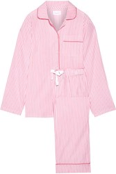 Three J Nyc Jamie Striped Cotton Poplin Pajama Set Pink