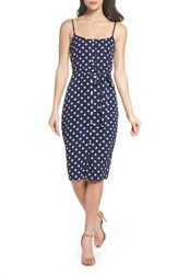 Ali And Jay 'S Flower Frolicking Midi Dress Navy Polka Dot