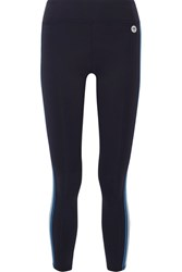 Tory Sport Prism Striped Stretch Tactel Leggings Navy