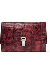 Proenza Schouler Small Lunch Watersnake And Leather Clutch Claret