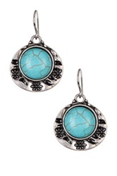 Spring Street Round Cab Drop Earrings Blue