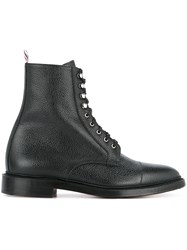 Thom Browne Combat Lace Up Boots Black