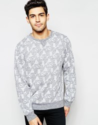 D Struct Geo Slub Marl Jumper Grey