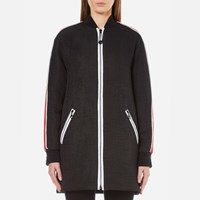 Kenzo Women's Contrast Athletic Side Stripe Long Bomber Black