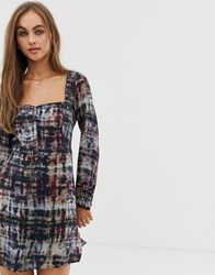 Pull And Bear Pullandbear Dress With Square Neck In Tie Dye Multi