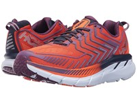 Hoka One One Clifton 4 Red Orange Peacoat Women's Running Shoes